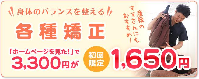 各種矯正1650円